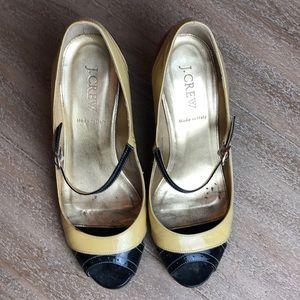 Jcrew multicolored mid heel peep toes